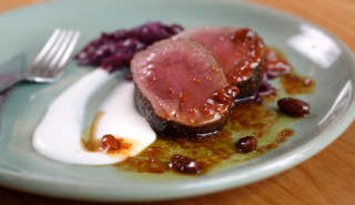 Sweet and sour venison with braised red cabbage